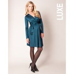 Petrol+Blue+Silky+Jersey+Maternity+Dress+with+Sash
