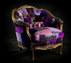 french-vintage-chair-decorating-ideas-patchwork-fabric-upholstery-purple-chair