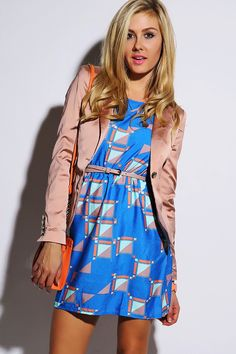 Trendy Cute cobalt blue geometric printed open back belted party mini dress fo cheap Short Mini Dress, Short Dresses, Summer Dresses, Belted Shorts, Blue Party, Affordable Dresses, Open Back Dresses, Party Dress, Cobalt Blue