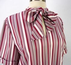 54a3222f7a67e Vintage 70s Burgundy Wine Stripes Tunic Blouse Size M Soft Top Ascot Pussy  Bow
