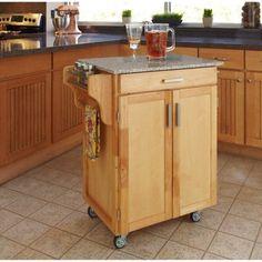 Home Styles Cuisine Kitchen Cart, Natural with Salt & Pepper Granite Top, Beige
