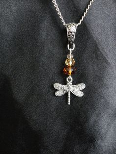 Outlander Inspired Necklace Dragonfly In Amber by TheMagpizeNest, $12.50