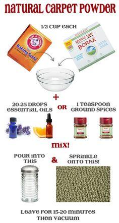 Make your own Natural Carpet Deodorizing Powder. 3 simple ingredients.