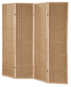 3 & 4 Panel Rattan in-Lay Wooden Screen Room Dividers Natural Finish in Home & Garden, Furniture, Screens & Room Dividers | eBay