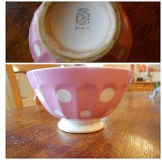 ancien bol céramique DIGOIN SARREGUEMINES rose et pois blancs