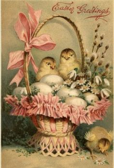 """Gel, Gold Highlight, """"Easter Greetings"""", Basket of Eggs w/ 3 New Hatched Chicks Easter Art, Easter Crafts, Easter Eggs, Vintage Greeting Cards, Vintage Postcards, Fete Pascal, Ostern Wallpaper, Easter Pictures, Diy Ostern"""