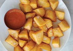My favorite dish at Spanish restaurants: Patatas Bravas. And here's the recipe from a place in Spain. Might be the only dish I'll try frying at home!