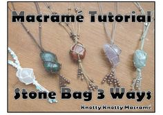 This tutorial will will guide you through the process of creating a macramé style net bag to hold stones or other objects, the end result can be used as pendant necklace but the technique can be used for a variety of other things such as a key chain or crystal window hanging. This tutorial is a guide, the materials listed are the ones I like to use but other threads and cords, including wool and hemp, can also be used. The tutorial will give three examples of slightly different versions of a…