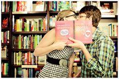 Book store engagement shoot! Too precious.