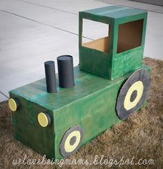 """We Love Being Moms!: Cardboard Tractor Tutorial!   --    -- If your little one is having a tractor birthday party here is a """"how to do"""" to build each child their own tractor. This would be a great way to use up the old diaper boxes & or bulk size wipe boxes."""