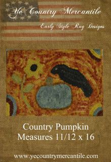 "Designed by Doreen Piechota is the Country Pumpkin  hand drawn on linen.. Finished rug will measure 11.5"" x 16""."