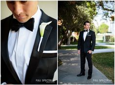 The groom looks flawless in his crisp black-and-white tuxedo with calla lily boutonniere | Full Spectrum Photography