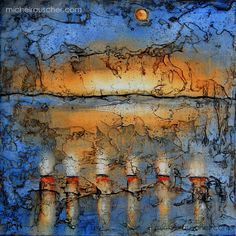 Michel RAUSCHER   Peintures - Huile sur bois - Sans titre -16 x 16 cm
