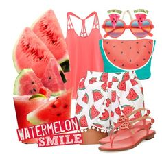 """Watermelon Smile"" by geewhizart ❤ liked on Polyvore featuring South Beach, Disney, MICHAEL Michael Kors, Cutler and Gross and Erstwilder"