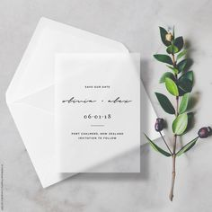 Minimal Vellum Save The Dates Transparent/Translucent with Premium Envelope & Sticker #invitation #clear #vellum #translucent #seethrough #transparent #minimal #modern #savethdates #savethedate #savethedatecards #embossed #sticker