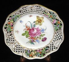 Antique Dresden Pocelain Hand Painted Reticulated Plate (Carl Thieme) 19th c