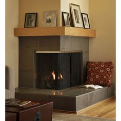 Corner Fireplace Design idea - square it off