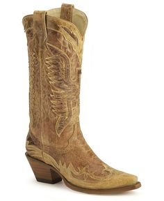Corral Vintage Eagle Wingtip Cowgirl Boots - Snip Toe