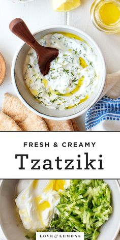 Learn how to make tzatziki sauce with this easy recipe! With just 8 ingredients its a cool refreshing and versatile dip. Serve it as an appetizer spread it on sandwiches drizzle it over grilled meat & veggies and more! Tzatziki Sauce Recipe Easy, Tzatziki Recipes, Tzaziki Sauce Recipe, Greek Tzatziki Recipe, Vegan Tzatziki, Pesto Recipe, Meat Appetizers, Appetizer Recipes, Dinner Recipes