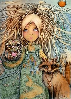 """Home Is Where the Heart Is"" by Karin Taylor.  With 2 of my favorites, the owl and the fox!  Where's the kitty?"