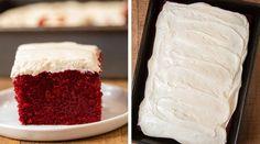 Red Velvet Sheet Cake Recipe, Easy Red Velvet Cake, Liquid Food Coloring, Red Food Coloring, Vanilla Sheet Cakes, Vanilla Cake, Mini Chocolate Chips, Chocolate Flavors, 9x13 Baking Pan