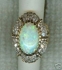Vintage Huge 14k Yellow Gold Domed Blue Green Red Opal & Petite Diamond Ring Nr