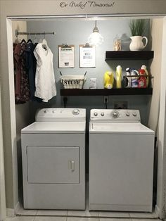 Best Small Laundry Room Ideas on A Budget that You Have Never Thought of - Laundry closet makeover. 15 Mind-Blowing Small Laundry Room Ideas Must You TryLaundry closet makeover. 15 Mind-Blowing Small Laundry Room Ideas Must You Try Small Laundry Rooms, Laundry Room Organization, Laundry Room Design, Laundry In Bathroom, Organization Ideas, Laundry Room Shelving, Laundry In Kitchen, Washroom, Ideas For Laundry Room