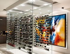 A floating wine rack is a stand-out feature in this luxury piece of South African property. Glass Wine Cellar, Home Wine Cellars, Wine Cellar Design, Japanese Restaurant Design, Restaurant Interior Design, Caves, Wine Tasting Room, Wine Wall, Arquitetura