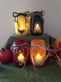 Fall Leaves-Flickering Tea Lights- Mason Jar Flameless Candlesset of 4 Fall decorations Autumn - Fall Candles - Ideas of Fall Candles Fall Candles, Mason Jar Candles, Mason Jar Lighting, Mason Jar Crafts, Tea Light Candles, Tea Lights, Flameless Candles, Yankee Candles, Soy Candles