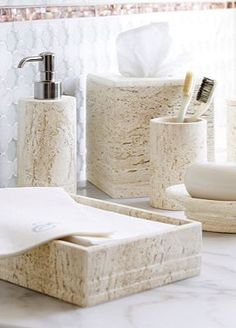 This handsome countertop collection is an elegant addition to a bath and an excellent value.