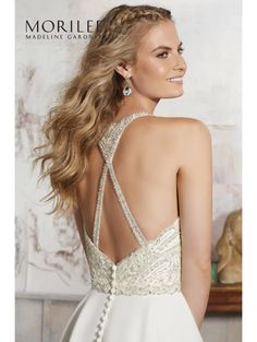MORI LEE 8106 MAELANI Silky Chiffon Skirt Beaded Lace Top Ivory