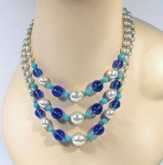 Vintage Signed 3 Strand MIRIAM HASKELL Baroque Pearl & Blue Glass Bead Necklace #MiriamHaskell #StrandsString $169.95