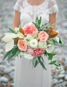 Peach and mint bridal bouquet - Vancouver Wedding Christie Graham