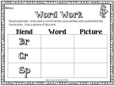 FREE Consonant Blends Word Work - Click here to download and print this great word work freebie. #tpt  #phonics  #reading