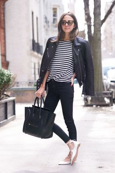 Stripes & Flats - Arielle wearing Siwy Jeans, Aquazzura Shoes, Revolve Clothing Shirt, Veda Jacket and Celine Bag.