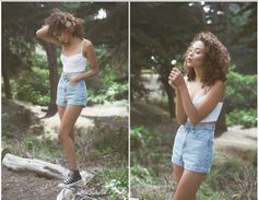 So simple yet so stylish- in high top Chucks, denim shorts and a white top!!