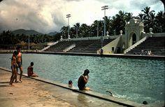 Waikiki Natatorium, 1954.  Honolulu, Hawaii.