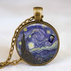 Van gogh doctor who necklace  Van gogh starry by starmekcreations, $14.00