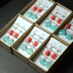 Bridesmaid jewelry Aqua and coral earrings, teal and orange, tiffany blue earrings,bridesmaid gifts,Wedding bridesmaid bridal jewelry on Etsy, $25.99