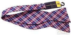 Countess Mara Men's Red, White & Blue Plaid Bow Tie