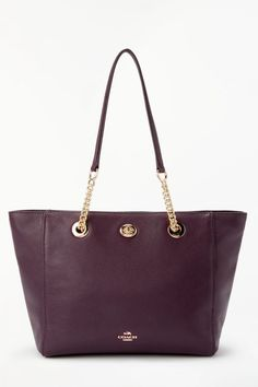 c5f5d2c97 Coach Turnlock 27 Chain Leather Tote Bag Beste Tragetaschen, Lederkette