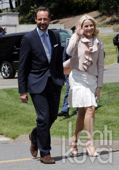 Crown Prince Haakon and Crown Princess Mette Marit on the final day of their visit to USA