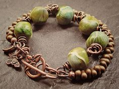 Handmade Copper Bracelet Beaded Mossy Rocks Clay Beads by Grubbi, $20.00