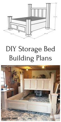 Build this gorgeous farmhouse style storage bed frame with two large drawers with these plans! Kids Woodworking Projects, Woodworking Plans Pdf, Woodworking Furniture Plans, Youtube Woodworking, Woodworking Supplies, Woodworking Techniques, Diy Storage Bed, Bed Frame With Storage, Diy Bed Frame