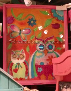 Unique Hand Painted Furniture   Hand Painted Hot Pink Vintage Window Owls - OOAK
