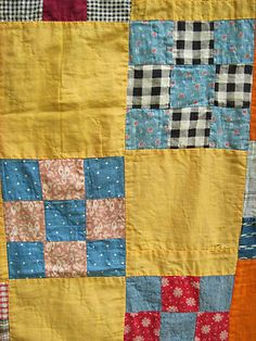 Detail, Late 19th Century Quilt Top Lots of Blue Red Set with Cheddar Orange Blocks | eBay, countrychick52