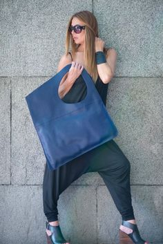Women Bag Leather Tote Large Bag Blue Genuine Leather Tote