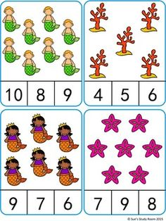 Count and Clip Cards: Mermaid (Numbers : Count and Clip Cards: Mermaid (Numbers Counting Activities, Preschool Learning Activities, Preschool Activities, Kindergarten Math Worksheets, Worksheets For Kids, Montessori Math, Numbers Preschool, Math For Kids, Tetsu