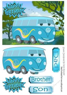 CUP771755_415 - Toony Camper van in the meadow A5, Lovely card for Dad, brother or son, can be seen in other colours