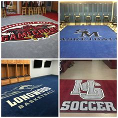 You'll Get a Big Bang From Your Athletic Budget with a School Locker Room Logo Rug.  #collegebasketball #collegesoccer #athleticbusiness #collegeathletics